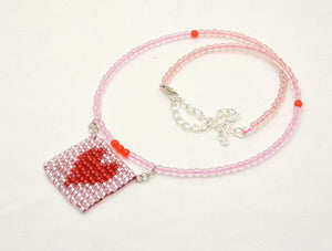 Heart Patterned Beaded Fidget Necklaces - Foldable, rollable, elegant stims
