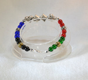 Kamen Rider Blade themed beaded bracelet with rhinestone decorated metal link - Kinetic Color Foundry - Bracelet
