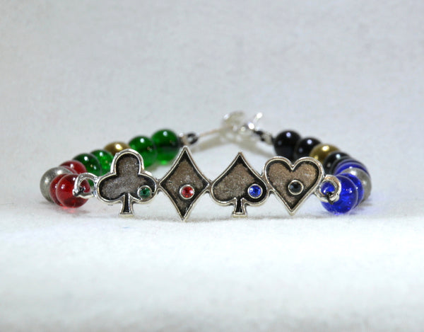 Kamen Rider Blade themed beaded bracelet with rhinestone decorated metal link - Kinetic Color Foundry