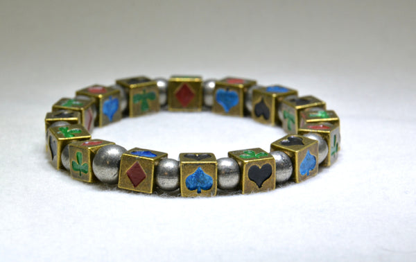 Kamen Rider Blade stretch bracelet with handpainted cube beads - Kinetic Color Foundry