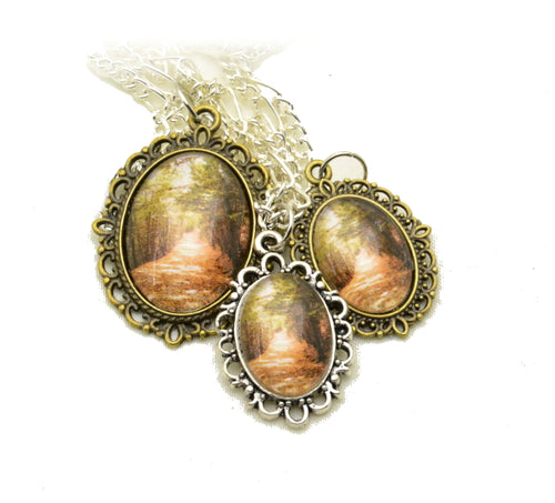 Photo Pendants: Walking into Sepia - Kinetic Color Foundry - Pendant Necklace