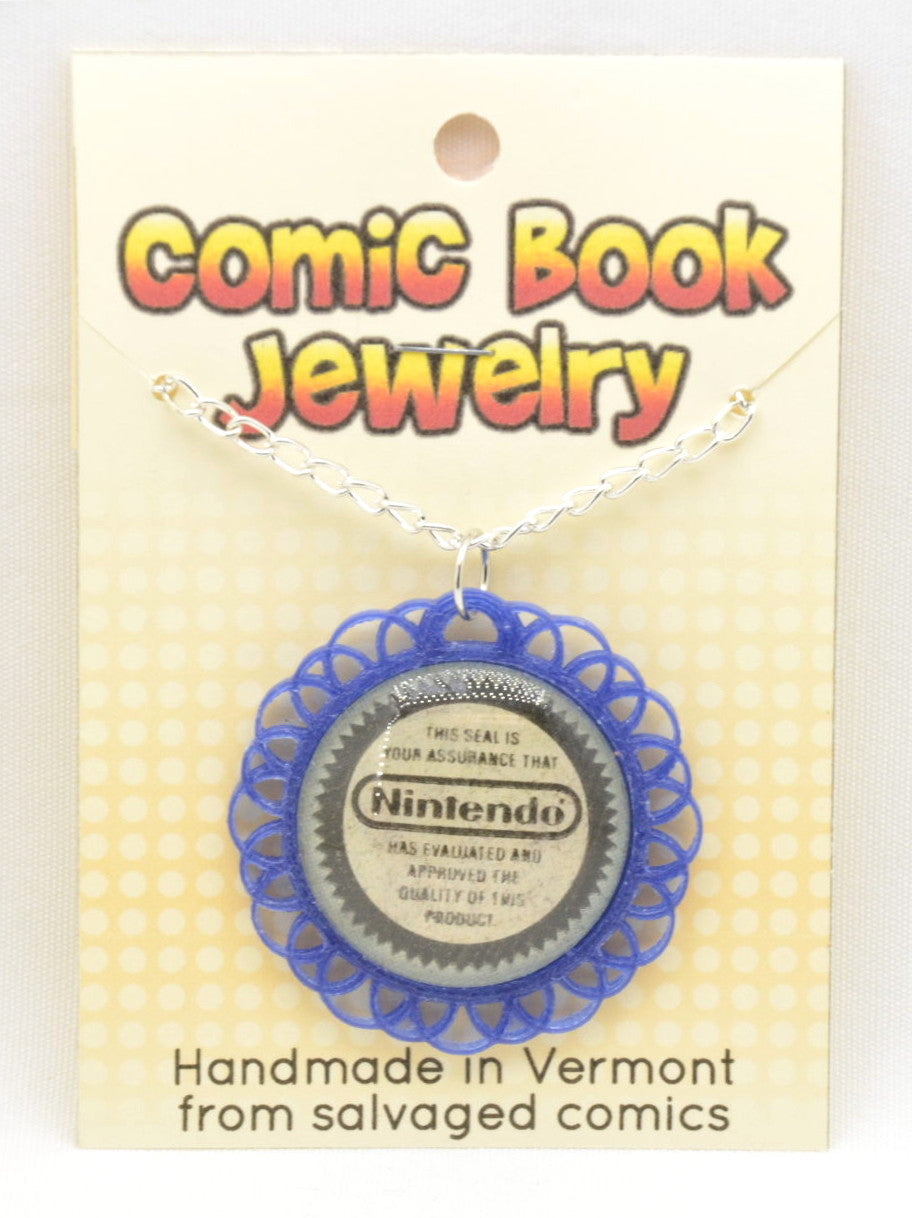 Comic Book Pendants : Nintendo Seal of Quality - Kinetic Color Foundry - Pendant Necklace