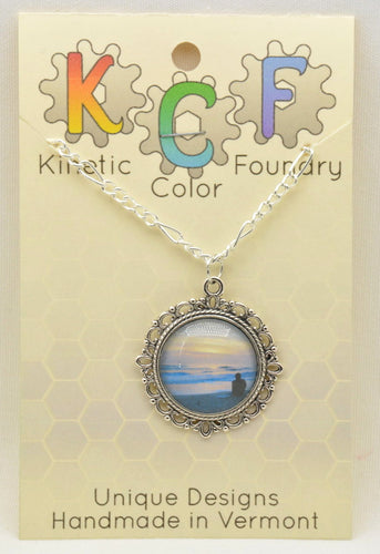 Photo Pendants : Blue Beach Sunrise - Kinetic Color Foundry - Pendant Necklace