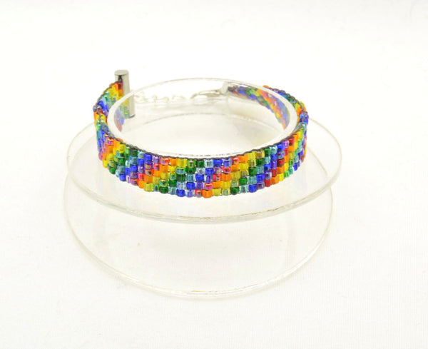 Rainbow woven bracelet - Kinetic Color Foundry