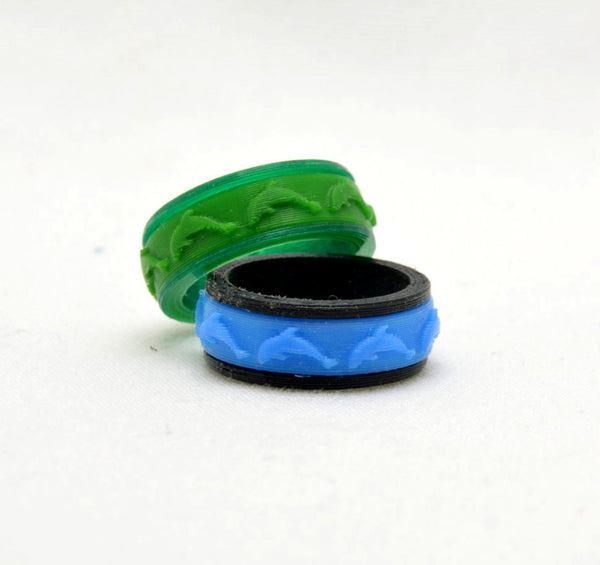 Dolphin Pattern Fidget Ring - Kinetic Color Foundry