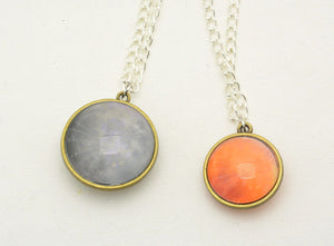 Double sided moon pendants and keychains : Full Moon and Eclipse - Kinetic Color Foundry - Necklace