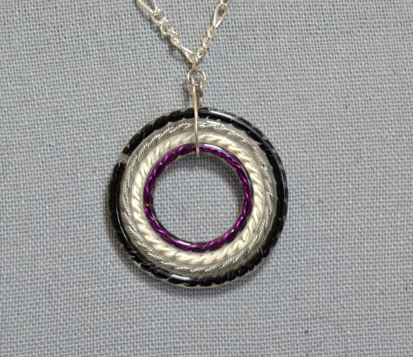 Nested Circle Asexual Pride Necklace - Kinetic Color Foundry - Pendant Necklace