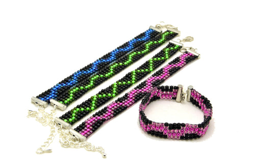 Retrowave Series Beaded Loom Bracelets for Tactile Stimming while Looking Fancy - Kinetic Color Foundry - Bracelet