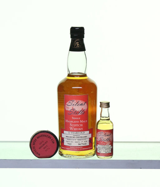 Millburn 1974 22 Years Old Single Highland Malt by Silent Stills gift set with miniature