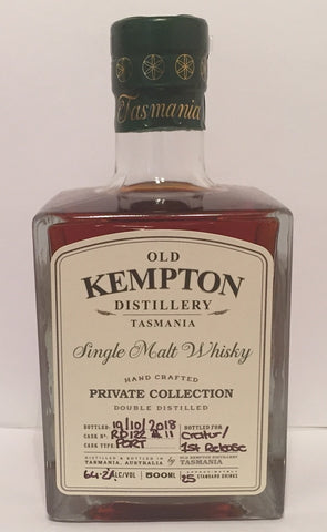 Old Kempton Private Collection Cask No RD 122 First Release ex-Port Cask Strength Tasmanian Single Malt Whisky Special Bottling #5 by MyWhiskyJourneys - Current