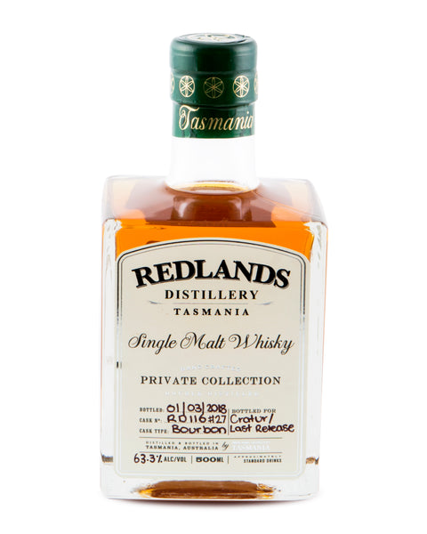 Redlands ex-Bourbon Private Collection Cask No RD 116 Last Release Cask Strength Tasmanian Single Malt Whisky Special Bottling #1 by MyWhiskyJourneys - Historic
