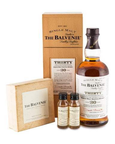 Balvenie 30 Years Old 2004 Release in wooden box with 2 x 30ml miniatures in box