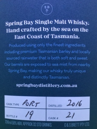Spring Bay The Rheban Cask Strength Port Cask No 21 Matured Tasmanian Single Malt Whisky - Historic