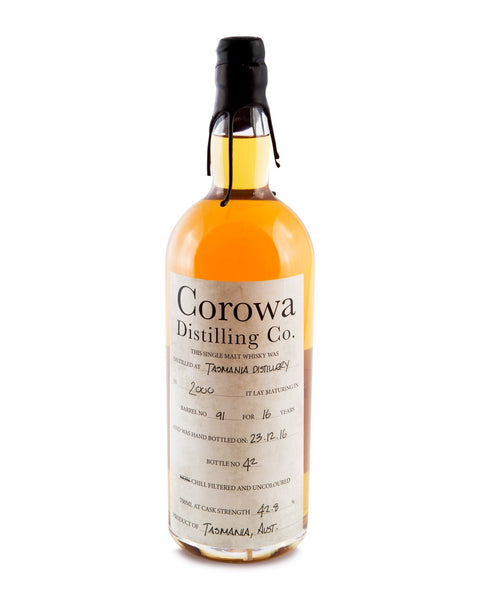 Sullivans Cove 16 Year Old (Barrel #91 bottled by Corowa Distillery) Cask Strength Tasmanian Single Malt Whisky - Historic