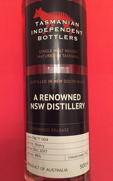 TIB A Renowned NSW Distillery Cask ?? 004 Single Malt Whisky - Historic
