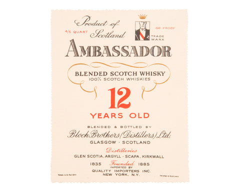 Ambassador 12 Years Old Label