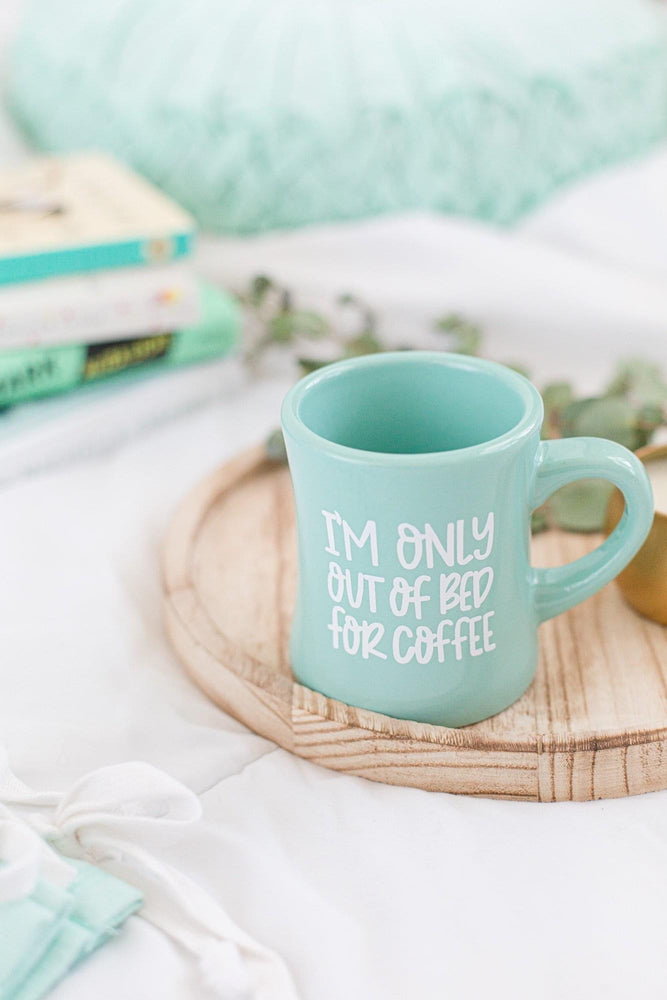 the mint sweater boutique- only out of bed for coffee- diner mug- mint- ceramic mug