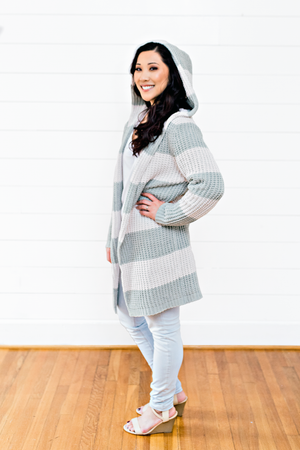 The Brianne Kathleen- Sage Striped Knit Cream Sweater with Hood
