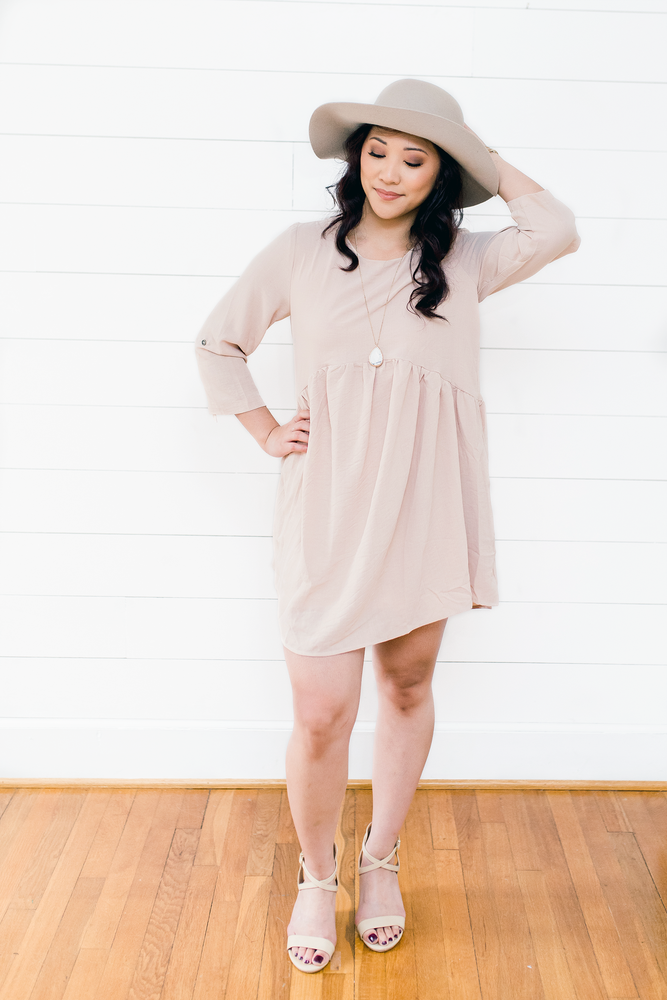The Airriaunte Mercer- Sand Scoop Neck Babydoll Dress