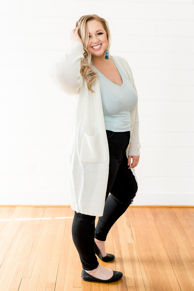 The Angela Rose- Cream Cardigan Sweater with Pockets- PLUS SIZE