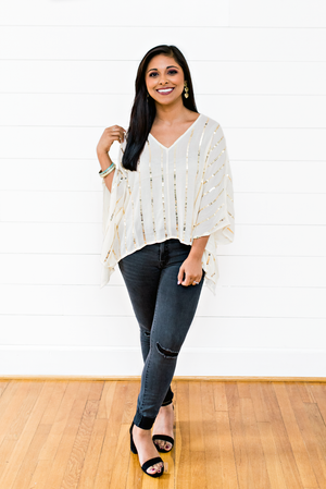 The Angie Janine- Sequin Stripe Cream Top