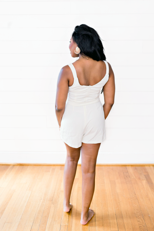 The Ashton Smith- Cream Front Button Tie Cocktail Romper