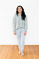 The Audrey Marie- Mint Sweater with With Hearts and Hood