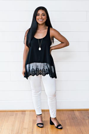 The Katie Dessin- Black Tank Top with Lace Trim