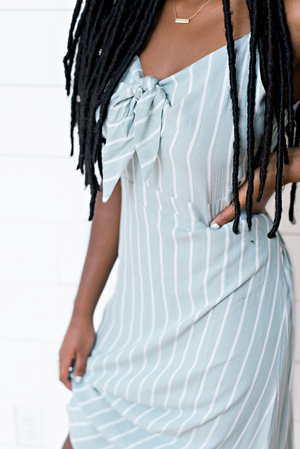The Lauren Alexis- Sky Blue and White Stripe Cami Dress