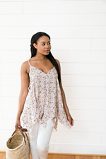 The Elizabeth Ladean- Blush Floral Cami Top