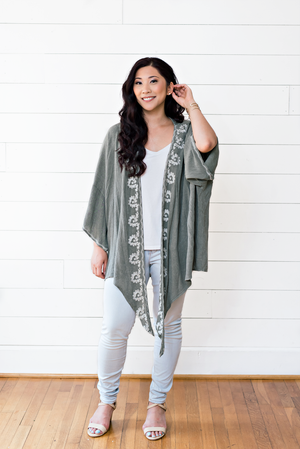The Caitlin Antje- Sage Embroidered Kimono Jacket With Front Tie