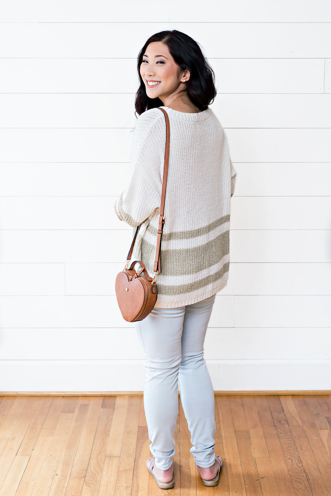 The Alanna Rene- Cream Knit Sweater with Olive Stripes