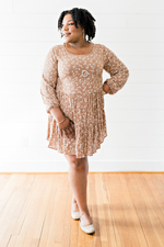 The Cynthia Mercer- Taupe Floral Print Long Sleeve Dress- PLUS SIZE