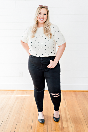 The Donna Truong- Cream Polka Dot Crop Sweater- PLUS SIZE