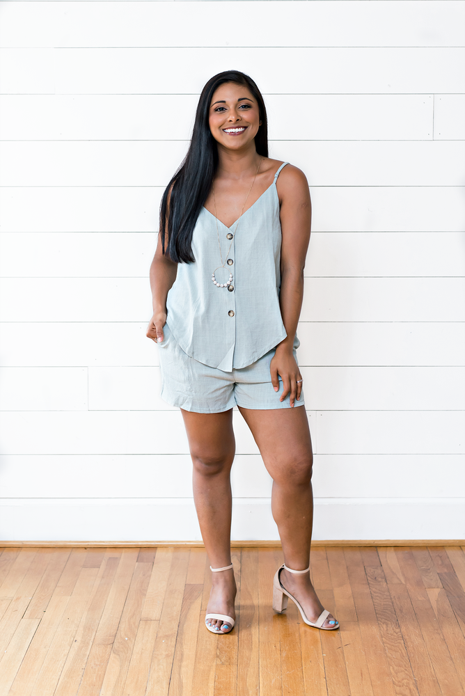 The Eli Bang- Sky Blue Linen Textured Button Down Top and Pant Set