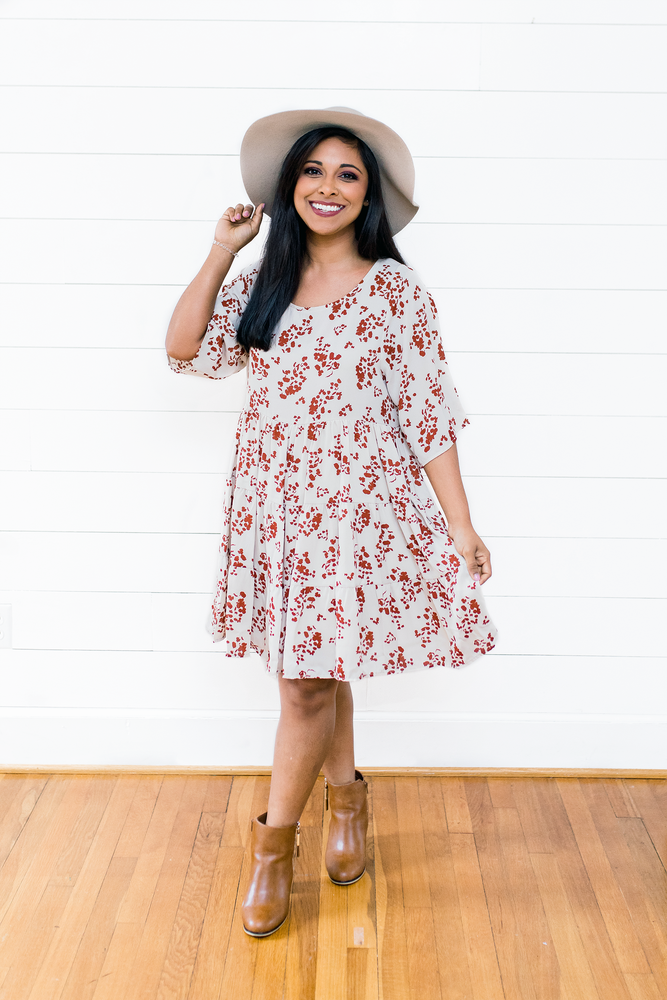 The Erin Michelle- Floral Print Babydoll Skirt Dress