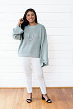 The Hannah Ashton- Sage Waffle Knit Pullover Sweater