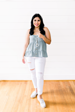The KC Pruneda-Sage Tiered Button Down Cami- Top