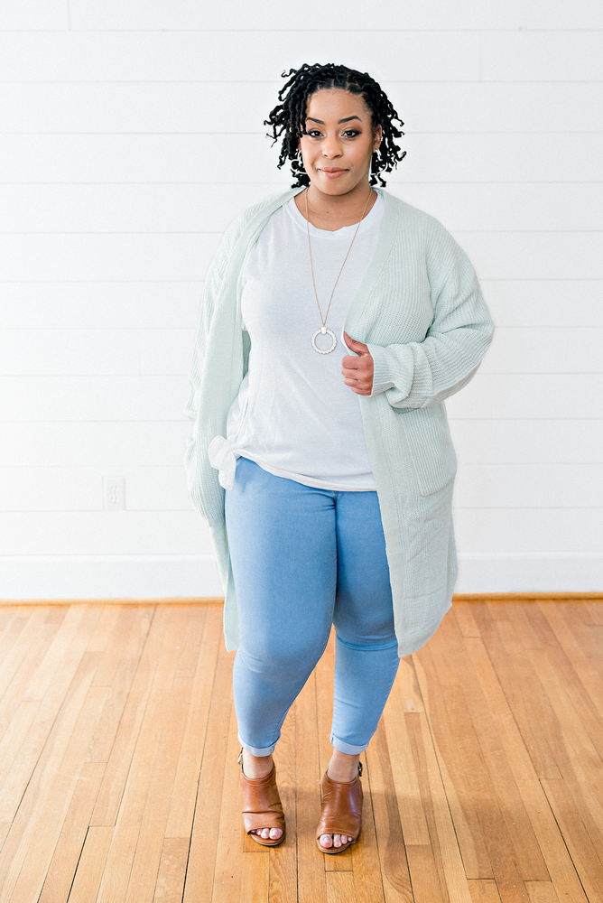 The Kara Cochran- Mint Sweater Cardigan with Pockets- PLUS SIZE