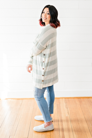 The Kenzi St. Germain- Mint Striped Long Sleeve Cream Sweater-PLUS SIZE