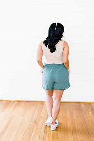 The Laura Quintero- Teal Shorts with Belted Smocked Waistline