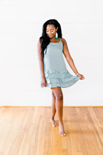 The Lauren Taylor- Sky Blue Solid Cami Dress with Ruffled Hem