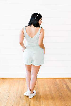 The Madison Anaya- Mint Front Button Tie Cocktail Romper