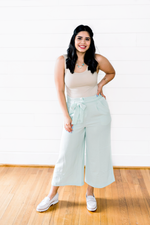 The Marlene Ramirez- Mint High-waisted Trousers with Tie Belt