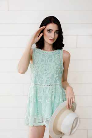 The Jenelle Marie- Mint Lace Top