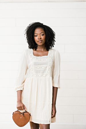 The Cindy Louise- Natural Embroidery Dress
