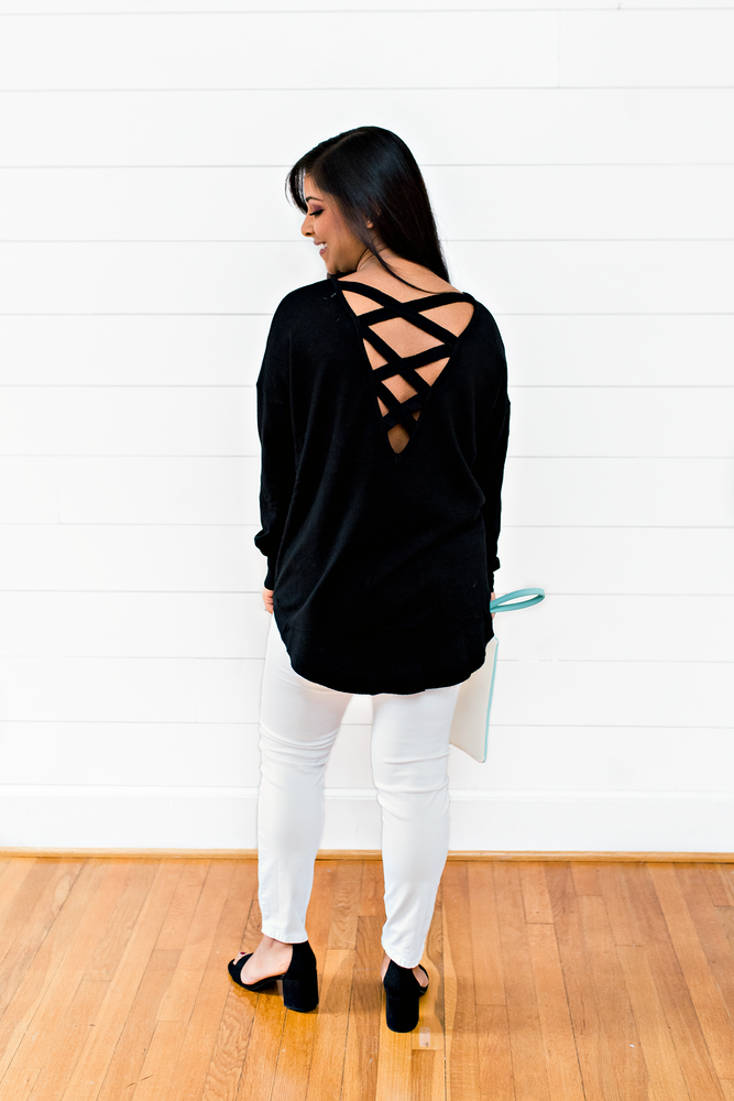 The Rebecca Burt- Black Pullover Sweater with Black Lace Up Detail