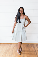 The Essentially Esha- Sage Dress With Crochet Tape Trim