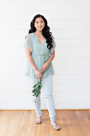 The Aileen Joy- Sage Button-Up Babydoll Lace Top