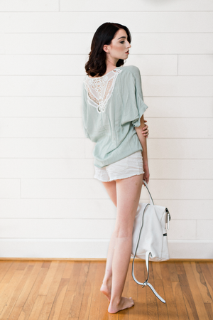 The Amanda Sue- Sage Top with White Lace Detail